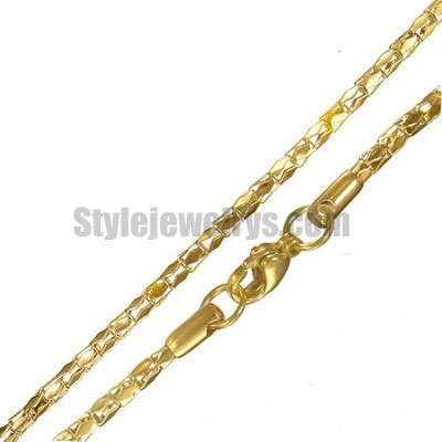 Stainless steel jewelry Chain 45cm gold plate bamboo chain necklace w/lobster 2mm ch360265