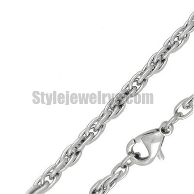 Stainless steel jewelry Chain 50cm - 55cm length ellipical link chain necklace w/lobster 4mm ch360233
