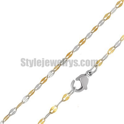 Stainless steel jewelry Chain 45cm half gold plate fancy link chain necklace w/lobster 1.8mm ch360266