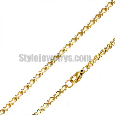 Stainless steel jewelry Chain 45cm - 50cm gold plate omega horseshoes shape link chain necklace w/lobster 3mm ch360267