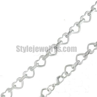 Stainless steel jewelry Chain 50cm - 55cm length heart link heart chain necklace w/lobster 10mm ch360222