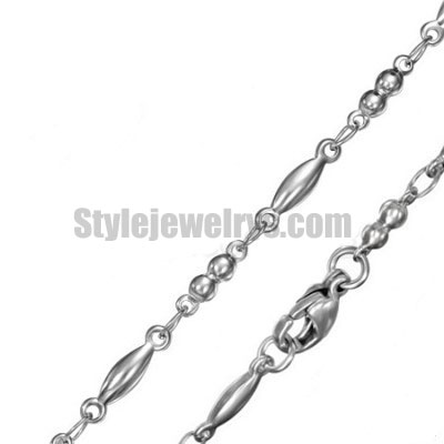 Stainless steel jewelry Chain 45cm - 50cm length oval ball link chain necklace w/lobster 3mm ch360230