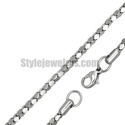 Stainless steel jewelry Chain 50cm - 55cm length oval box chain necklace w/lobster 3mm ch360244