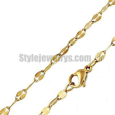 Stainless steel jewelry Chain 45cm gold plate flat oval link chain necklace w/lobster 2.5mm ch360263