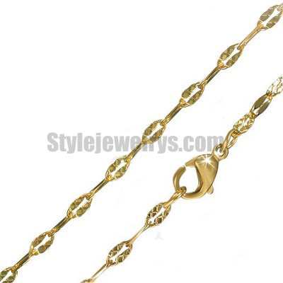 Stainless steel jewelry Chain 45cm gold plate flat oval link chain necklace w/lobster 2mm ch360264