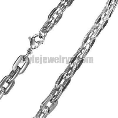 Stainless steel jewelry Chain 50cm - 55cm flat oval link chain necklace w/lobster 7mm ch360280