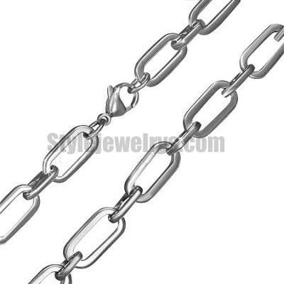 Stainless steel jewelry Chain 50cm - 55cm flat oval link chain necklace w/lobster 8mm ch360282