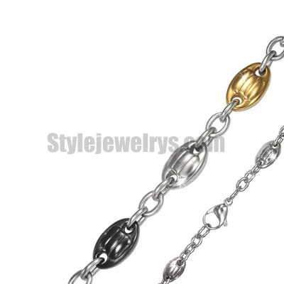 Stainless steel jewelry Chain 50cm - 55cm black and gold plating fancy oval plate chain necklace w/lobster 10mm ch360270