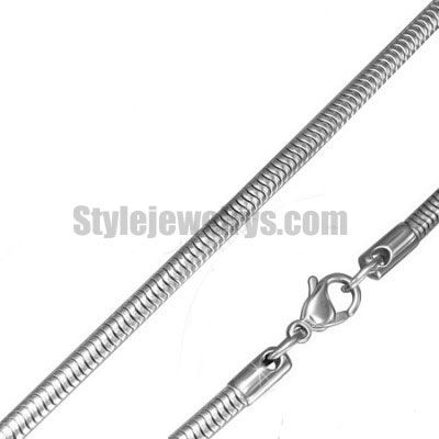 Stainless steel jewelry Chain 45cm - 50cm length snake link chain w/lobster thickness 3.2mm ch360213