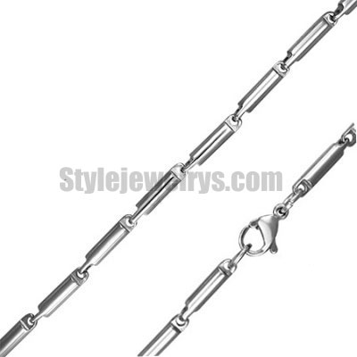 Stainless steel jewelry Chain 50cm - 55cm fancy box tube chain necklace w/lobster 2.5mm ch360268