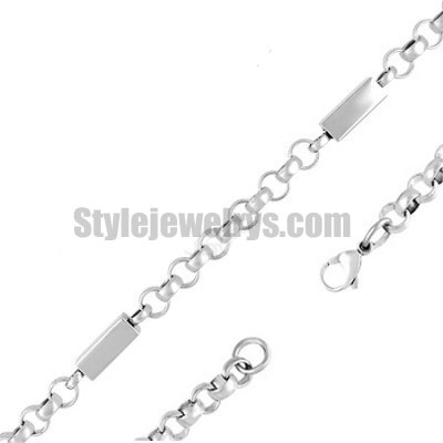 Stainless steel jewelry Chain 50cm - 55cm rectangle tube rolo link chain necklace w/lobster 6mm ch360271