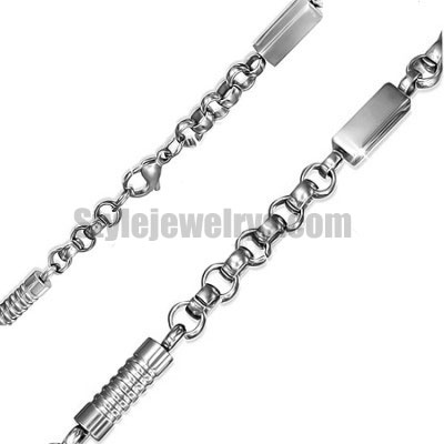 Stainless steel jewelry Chain 50cm - 55cm rectangle tube rolo link chain necklace w/lobster 6mm ch360272