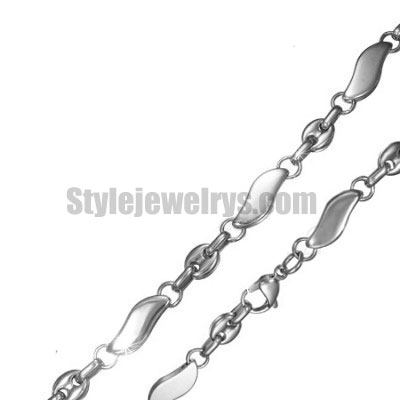 Stainless steel jewelry Chain 50cm - 55cm length oval wave circle chain necklace w/lobster 7mm ch360253